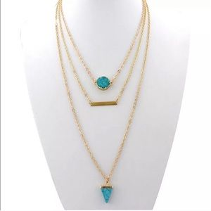Turquoise and gold layered necklace